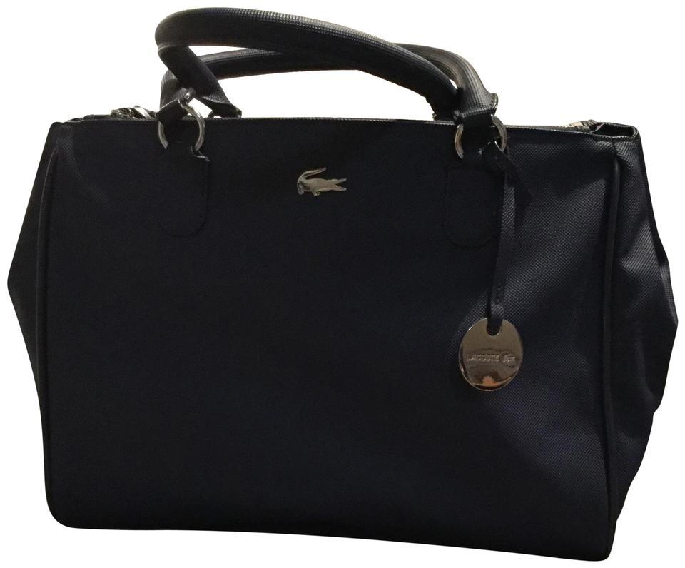 7e2541c5361a Lacoste Women s Daily Classic Gusseted Coated PiquÉ Canvas Navy Blue Tote