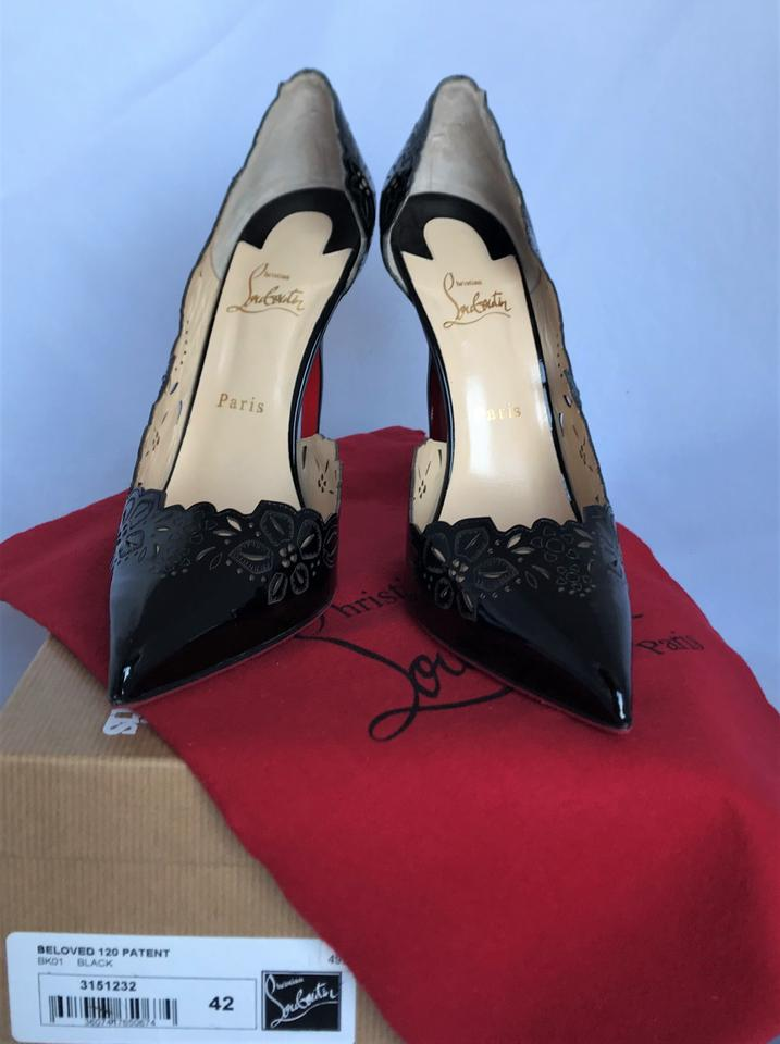 304085f1bf7 Christian Louboutin Black 11us Beloved Patent Leather Pigalle 120 High Heel  Toe Laser-cut 10.5us Pumps Size EU 42 (Approx. US 12) Regular (M, B)