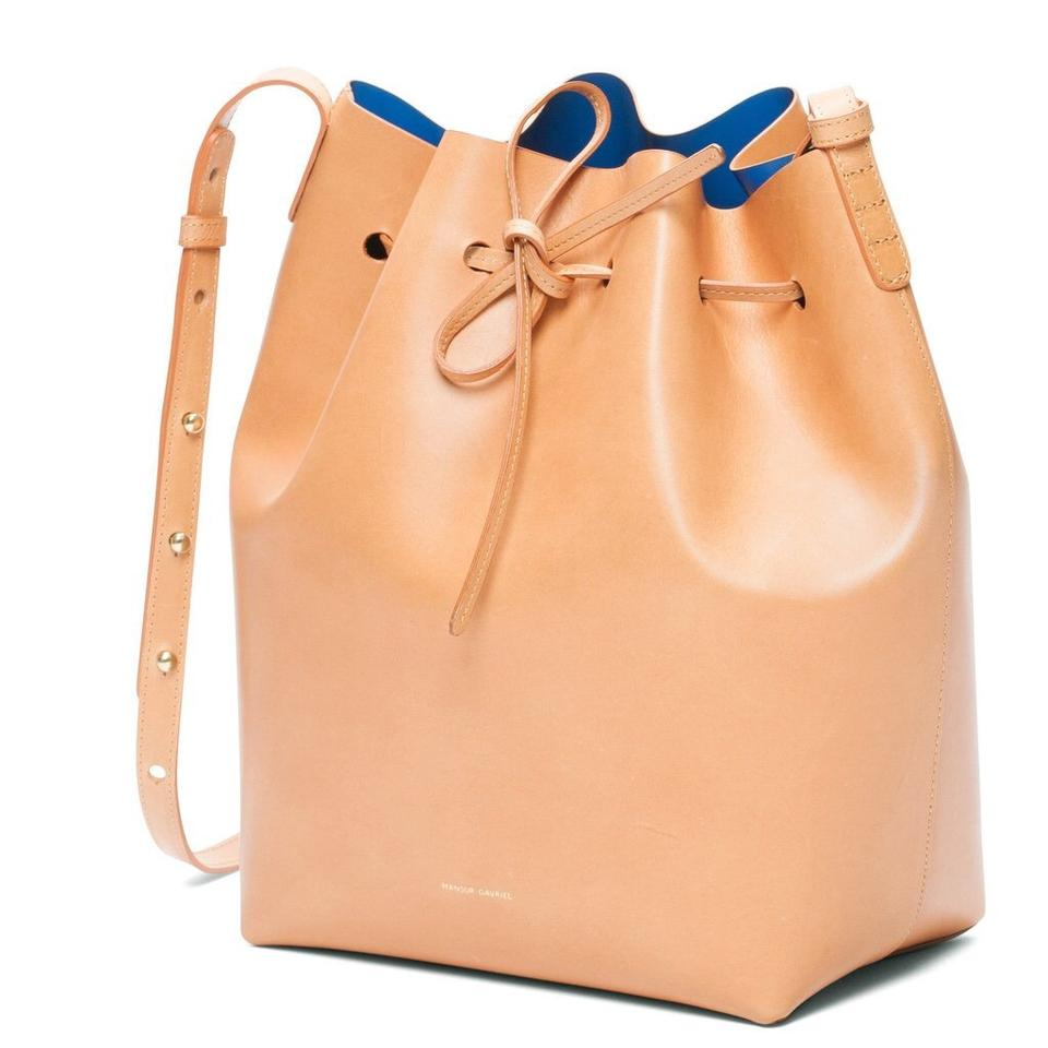 Mansur Body Royal Duster Bag Tan Bucket with New Gavriel Cammello Cross Box Leather and ggxqBwpF