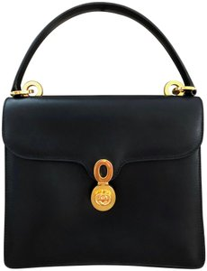 Gucci Vintage Leather Made In Italy Satchel in Black