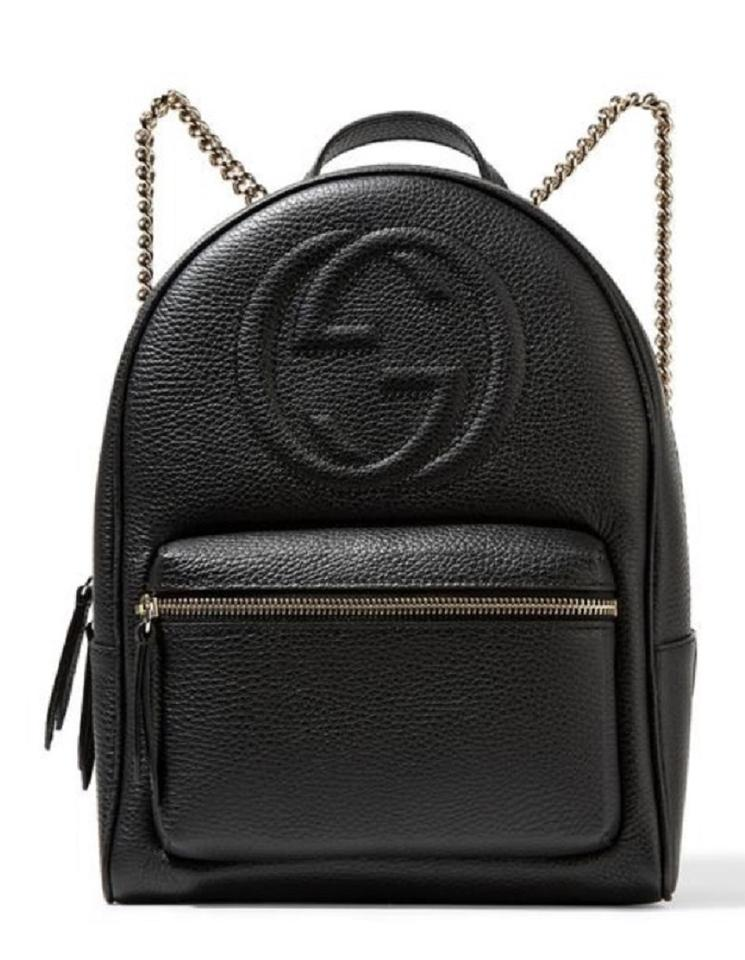Gucci Soho  536192 Gold Chain Black Leather Backpack - Tradesy