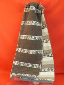 Fendi Multi-color/Beige Zucca Color Block Ff Wool Cashmere Reversable Neck Scarf 64x11 Men's Jewelry/Accessory