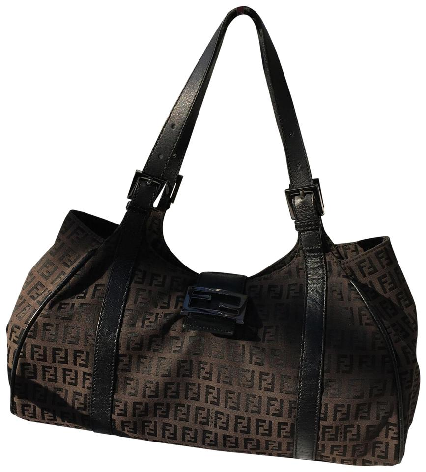 2a34d6a3fbe1 Fendi Handbag-zucca and Tobacco Brown and Leather Monogram Canvas ...