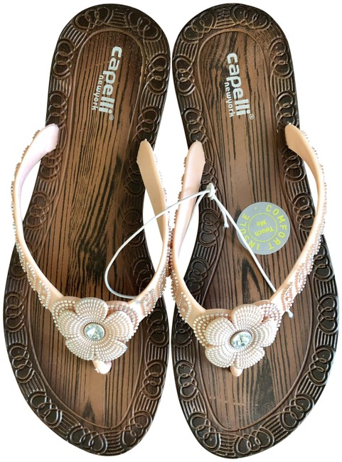 Capelli New York Wood Grain/Blush Pink Cute Girly Flip Flops By Sandals Size US 6 Regular (M, B) Capelli New York Wood Grain/Blush Pink Cute Girly Flip Flops By Sandals Size US 6 Regular (M, B) Image 1