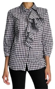 Tory Burch Longsleeve Plaid Ruffle Button-down Top multi