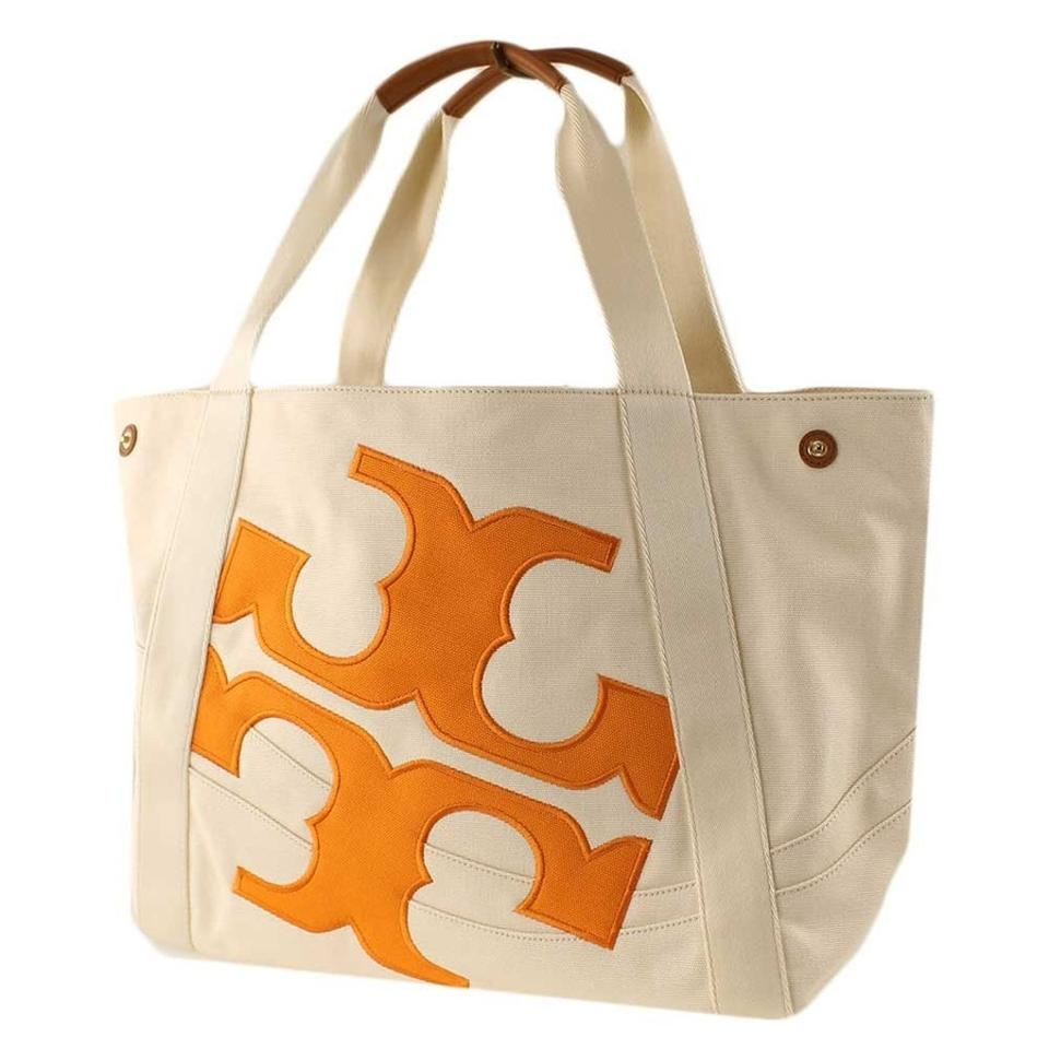 1f9671ff0c8 Tory Burch Tote Cream Orange Canvas Beach Bag - Tradesy