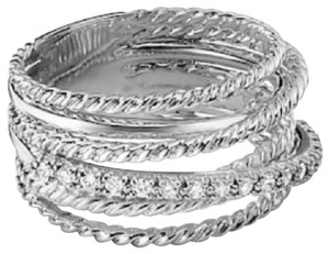David Yurman GORGEOUS! David Yurman Crossover Wide Cable Pave Diamond Ring Sterling Silver 0.18 carat Total Weight Pave Diamonds 11mm Wide Size 6 100% Authentic Guaranteed!! Comes with Original David Yurman Pouch!!