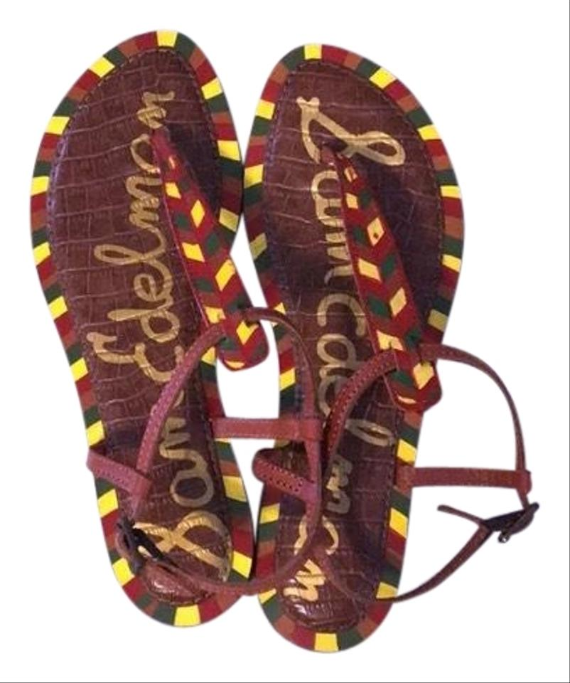 09099b552678 Sam Edelman Red Green Yellow Pattern Gigi Sandals Size US 7.5 ...