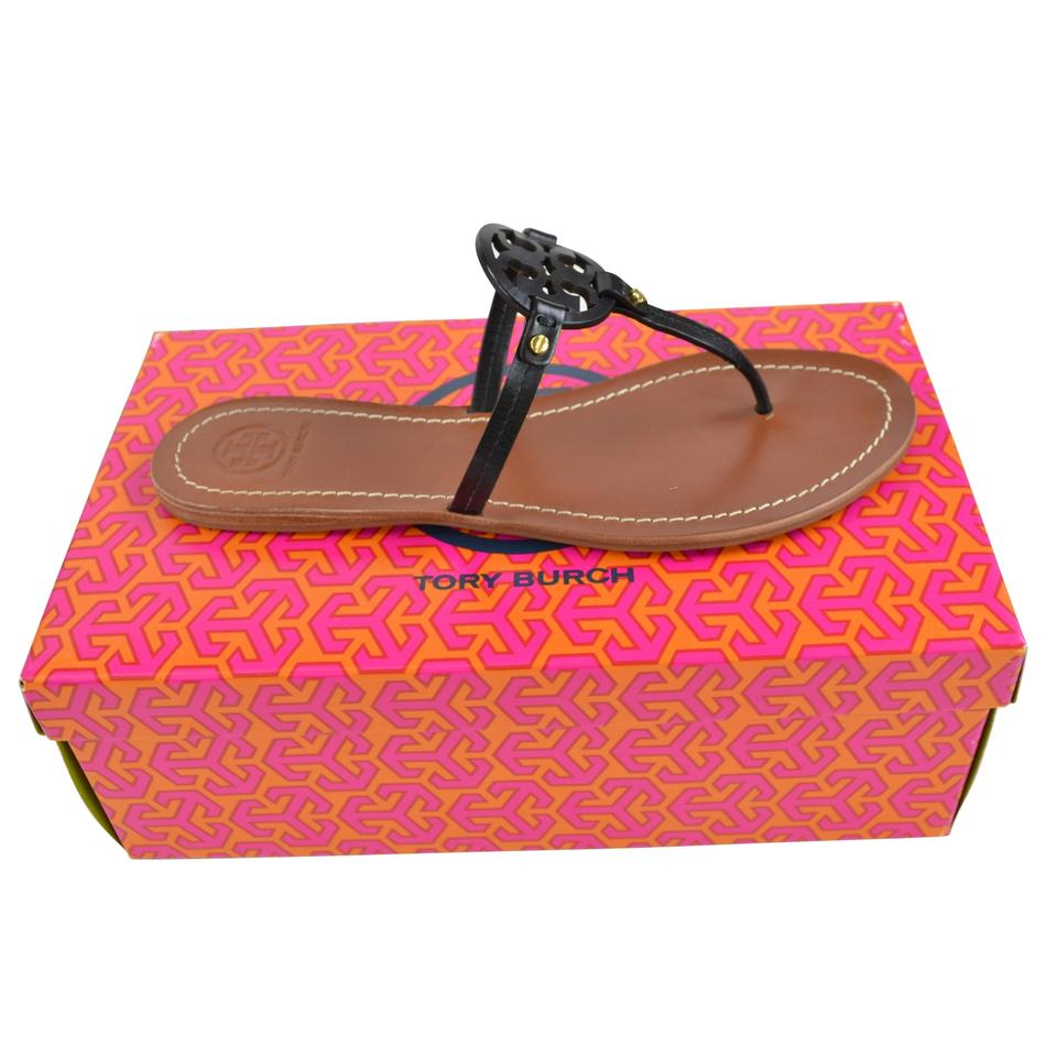 5ecd11e6343 Tory Burch Black Mini Miller Flat Thong Leather Sandals Size US 9.5 ...