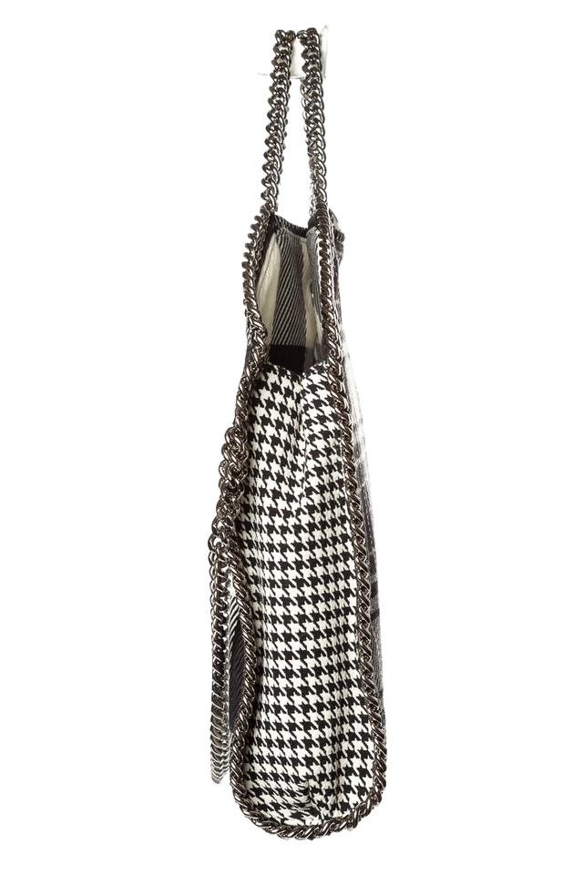 amp; White Stella McCartney Checked Wool Falabella Tote Black qSn7fnHw