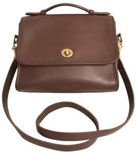 Coach Purse Handbag Cross Body Shoulder Vintage Satchel in Brown Gold 735104fceabdb