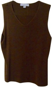 Carolyn Taylor Vest Ribbed Knit Sleeveless Vest Dress Top Brown