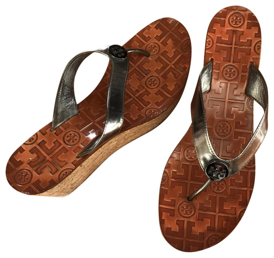 21f92521744f Tory Burch Silver with Tan Cork Sandal Wedges Size US 9.5 Regular (M ...