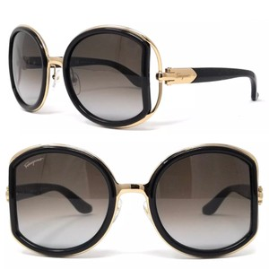 ded121a94269 Salvatore Ferragamo Black Gold Oversized Oval Frame Sf719s 001 ...