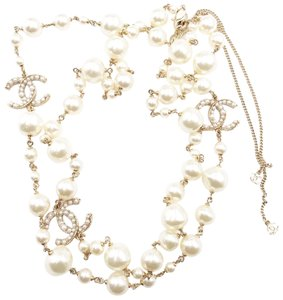 Chanel Chanel Light Gold Twisted CC Faux Baroque Pearl Necklace