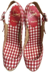 Christian Louboutin Vintage Checkered Canvas Classic Red and White Wedges