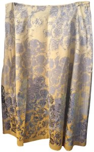 Isda & Co. A-line Metallic Flower Print Skirt Silver ombre'