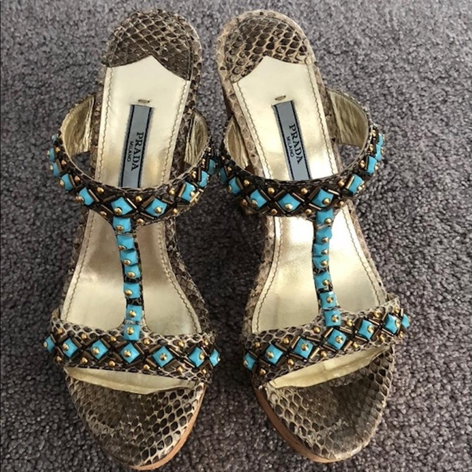 Prada Brown & Turquoise Sandals Ayers Embellished T-strap Slide Sandals Turquoise d295fd