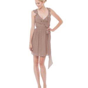 Joanna August Landslide (Cocoa Brown) Chiffon Lacey Short Casual Bridesmaid/Mob Dress Size 12 (L)