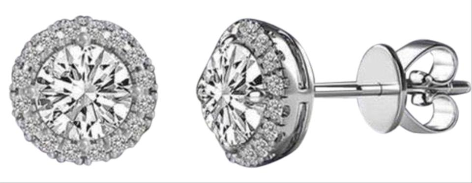Lesa Michele 3 44 Cttw Round Halo Stud Earrings With Swarovski Elements In Sterling Silver
