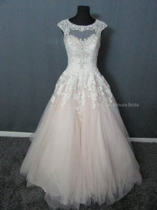 Allure Bridals Champagne/Ivory/Silver Tulle 9323 Feminine Wedding Dress Size 10 (M)