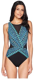 Miraclesuit Women/'s Gypsy Palma One Piece High Neck Swimsuit Teal Green 14