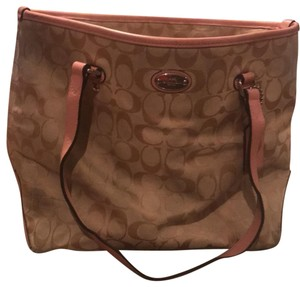 Coach Tote in tan with pink