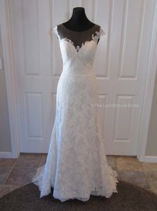 Casablanca Ivory Champagne Ivory Silver Lace Bl242 Feminine Wedding Dress Size 10 (M)