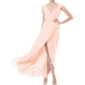 Joanna August Paradise City (Soft Peach) Chiffon Portia Long Feminine Bridesmaid/Mob Dress Size 12 (L)