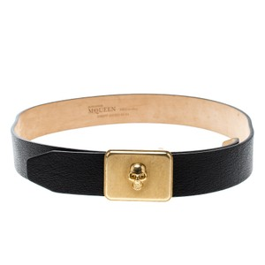 Alexander McQueen Black Leather Skull Plate Belt 85 CM