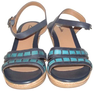"""Clarks High End Boho Look Nwob 4"""" Heels & Open Toe/Ankle Strap navy blue leather with teal leather and cork wedge Sandals"""