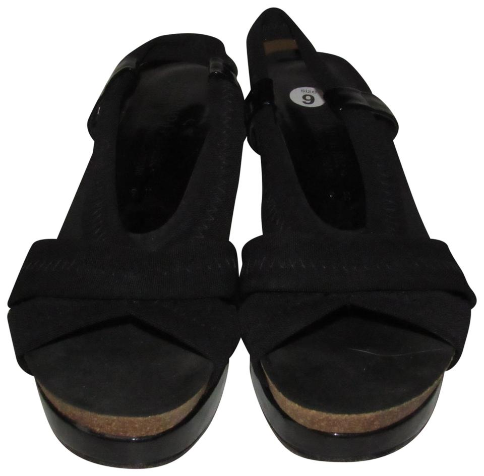 Donald J. Pliner Black Microfiber and Patent Leather and Cork Shoes/Designer Sling Back Wedge Heels Shoes/Designer Cork Sandals b0558c