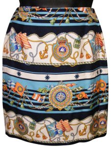 Talbots Silk Lux Wrap Button Nautical Skirt multi-color