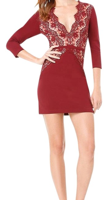 Item - Deep Red Magda Lace Short Night Out Dress Size 8 (M)