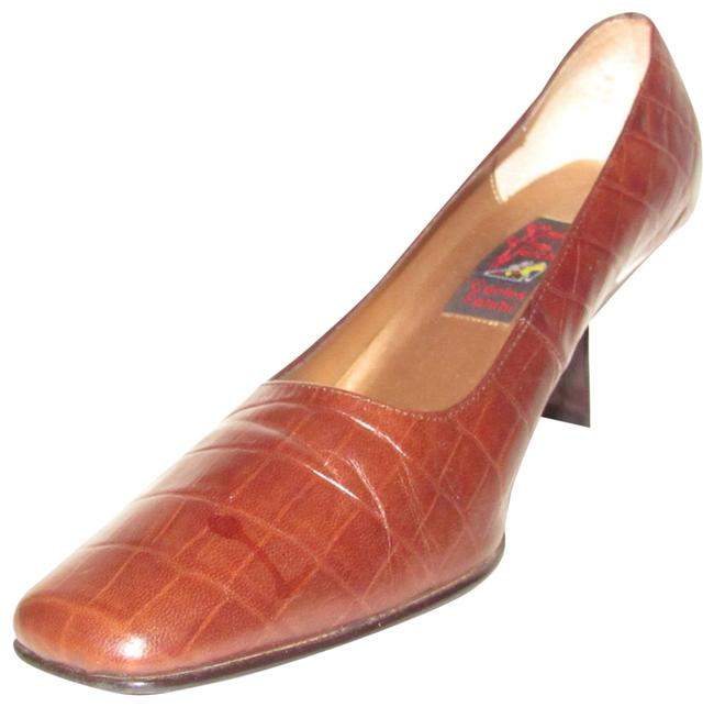 Carlos Falchi Brown Crocodile Embossed Leather Shoes/Designer Pumps Size US 7.5 Regular (M, B) Carlos Falchi Brown Crocodile Embossed Leather Shoes/Designer Pumps Size US 7.5 Regular (M, B) Image 1