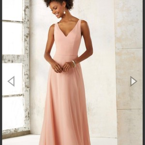 Mori Lee Peach 21513 Feminine Bridesmaid/Mob Dress Size 18 (XL, Plus 0x)