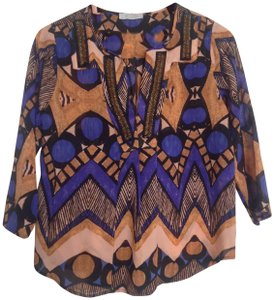 The Impeccable Pig Tribal Print Tunic Top Blue