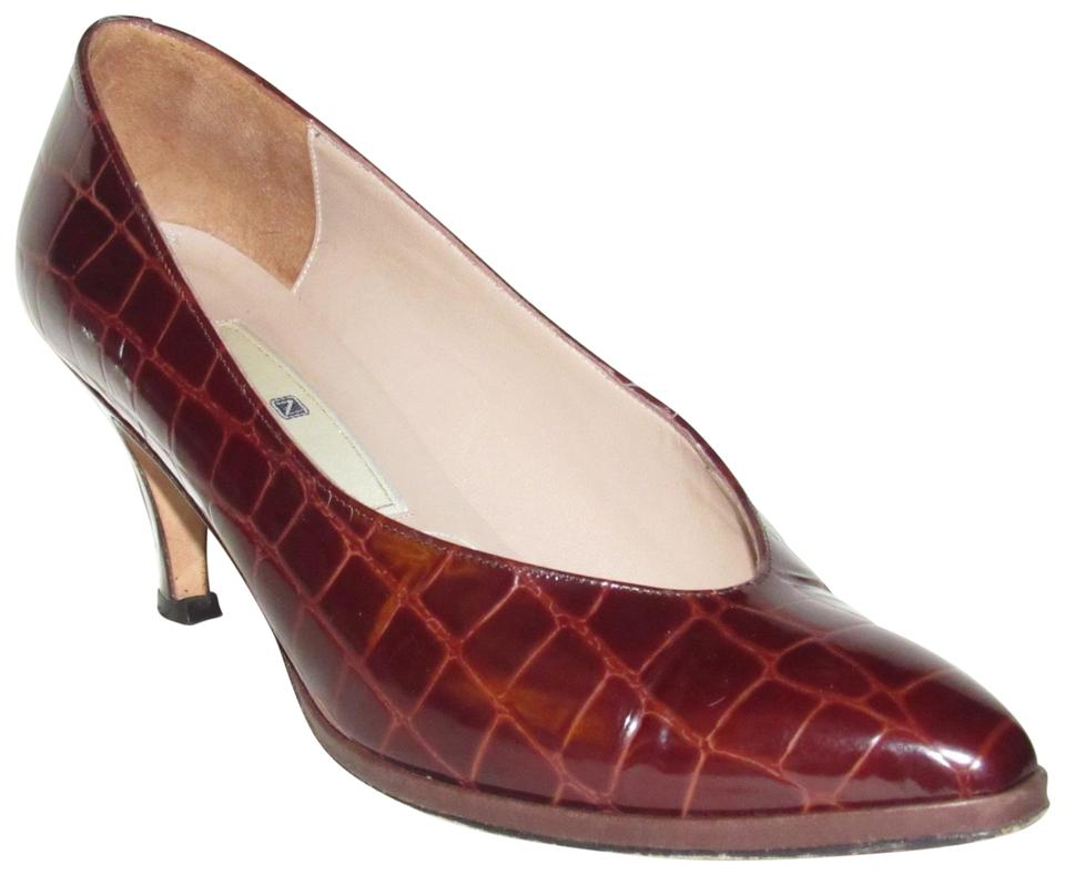 ee9294bd1b0 Nordstrom Brown Crocodile Embossed Leather Shoes Designer Pumps Size ...