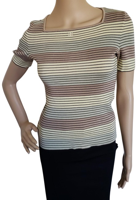 Preload https://img-static.tradesy.com/item/23907454/chanel-brown-multicolor-yellow-boutique-cc-logo-striped-knit-blouse-size-4-s-0-4-650-650.jpg