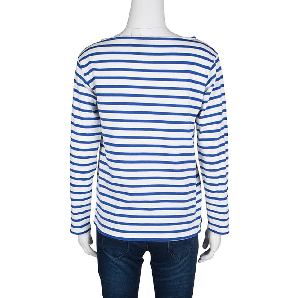 Blue Paris Striped M Top and Laurent Knit White Activewear Saint Cotton qPCgxg