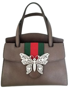 Gucci Butterfly Linea Totem Crystal Satchel in Brown