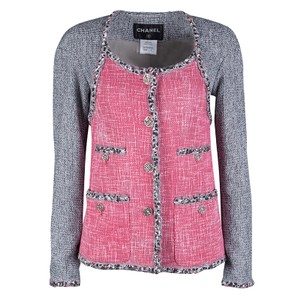 Chanel Multicolor Contrast Panel Detail Textured Jacket S