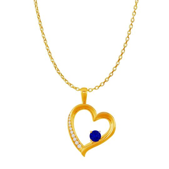 Preload https://img-static.tradesy.com/item/23907673/blue-cz-sapphire-birthstones-heart-pendant-18k-gold-vermeil-necklace-0-0-540-540.jpg