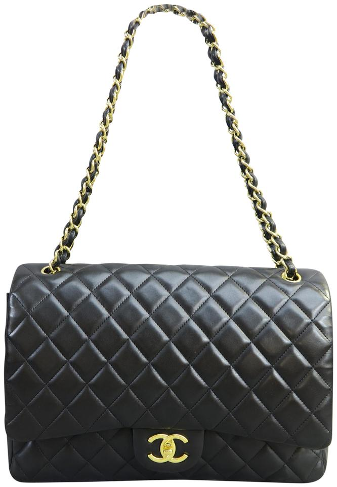 91ca8122a1e5 Chanel Classic Maxi Double Black Lambskin Leather Shoulder Bag - Tradesy