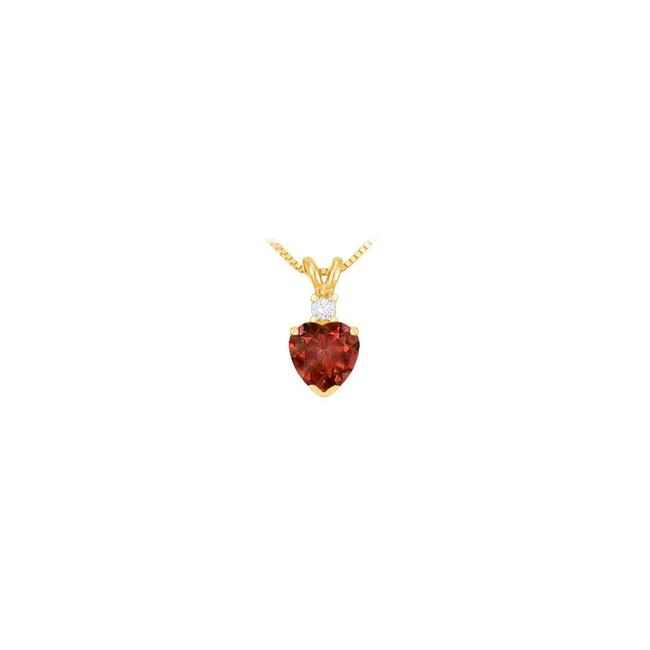 Red Diamond and Garnet Solitaire Pendant 14k Yellow Gold 1.00 Ct Tgw Necklace Red Diamond and Garnet Solitaire Pendant 14k Yellow Gold 1.00 Ct Tgw Necklace Image 1