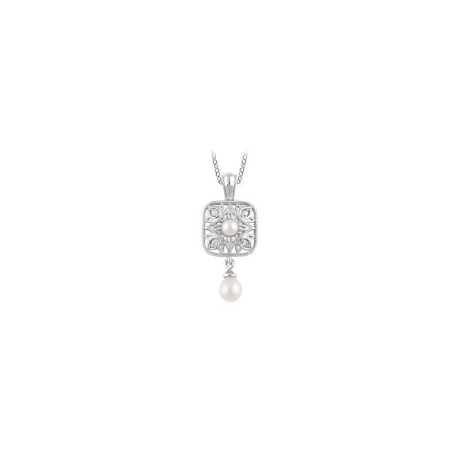 White Diamond and Pearl Freshwater Cultured Pendant In 925 Sterling Silver 1 Necklace White Diamond and Pearl Freshwater Cultured Pendant In 925 Sterling Silver 1 Necklace Image 1
