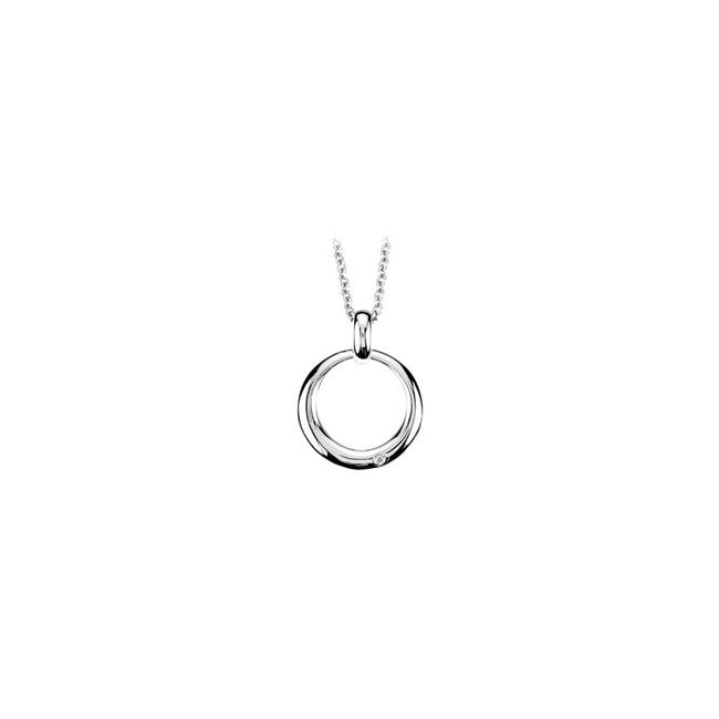White Diamond Circle Pendant In Rhodium Treated 925 Sterling Silver 16 Inch Necklace White Diamond Circle Pendant In Rhodium Treated 925 Sterling Silver 16 Inch Necklace Image 1