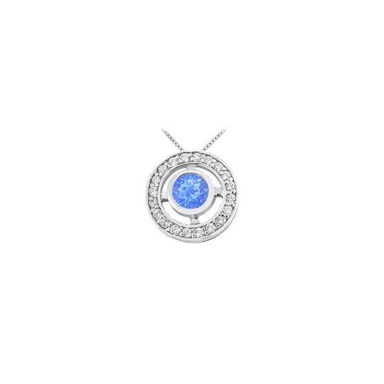 Preload https://img-static.tradesy.com/item/23907906/blue-created-sapphire-and-cubic-zirconia-pendant-in-rhodium-treated-925-ste-necklace-0-0-540-540.jpg