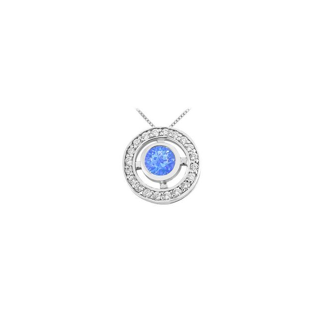Blue Created Sapphire and Cubic Zirconia Pendant In Rhodium Treated 925 Ste Necklace Blue Created Sapphire and Cubic Zirconia Pendant In Rhodium Treated 925 Ste Necklace Image 1