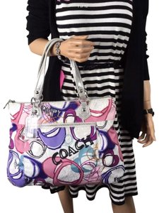 Coach Tote in purple multi color